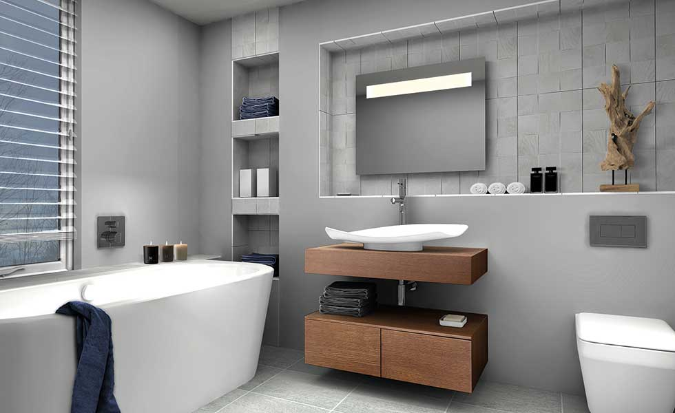 contemporary grey bathroom in passivhaus