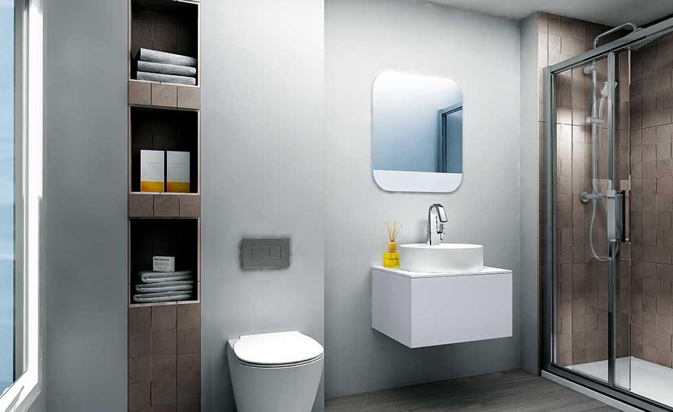 contemporary passivhaus bathroom with alcove storage