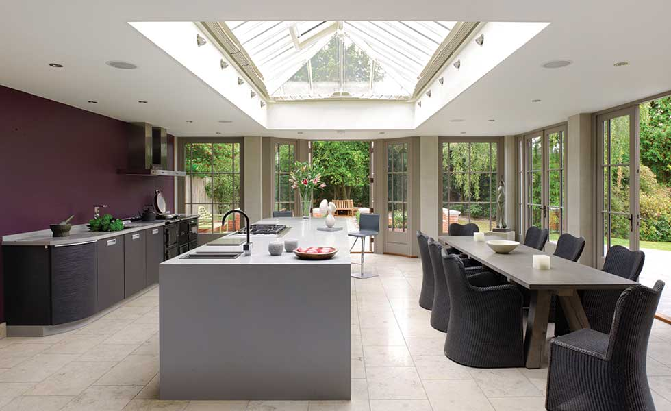 roof lantern in a kitchen diner extension