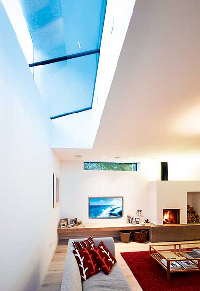rooflights section in modern home living room