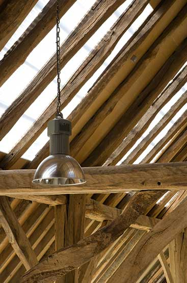 glass roof tiles in a barn conversion
