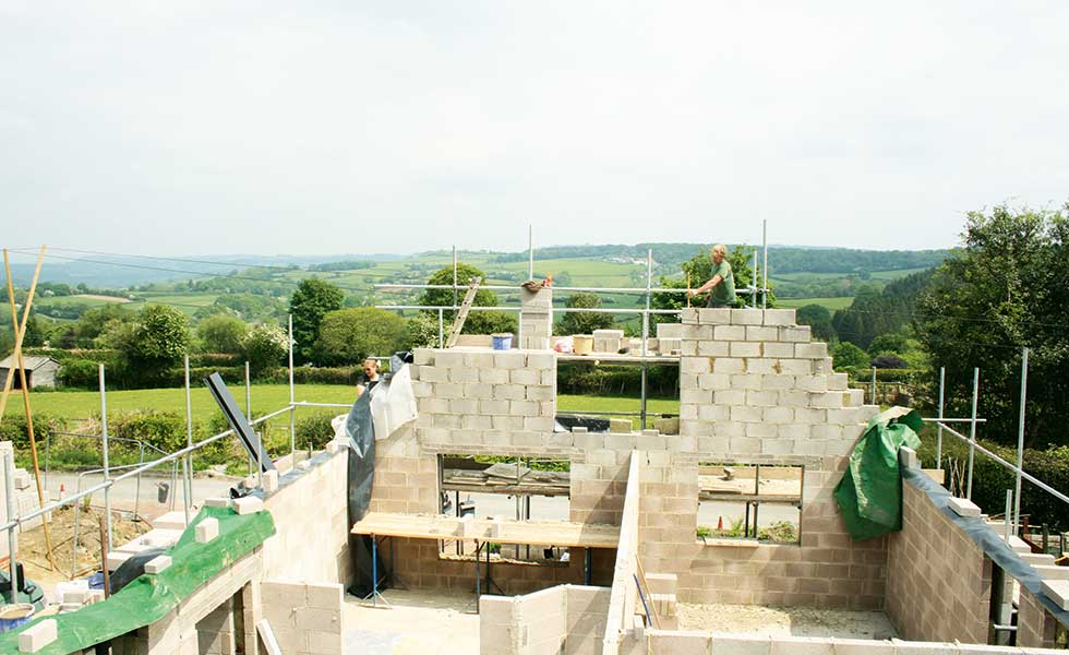 building blockwork external walls for a self build with services on site