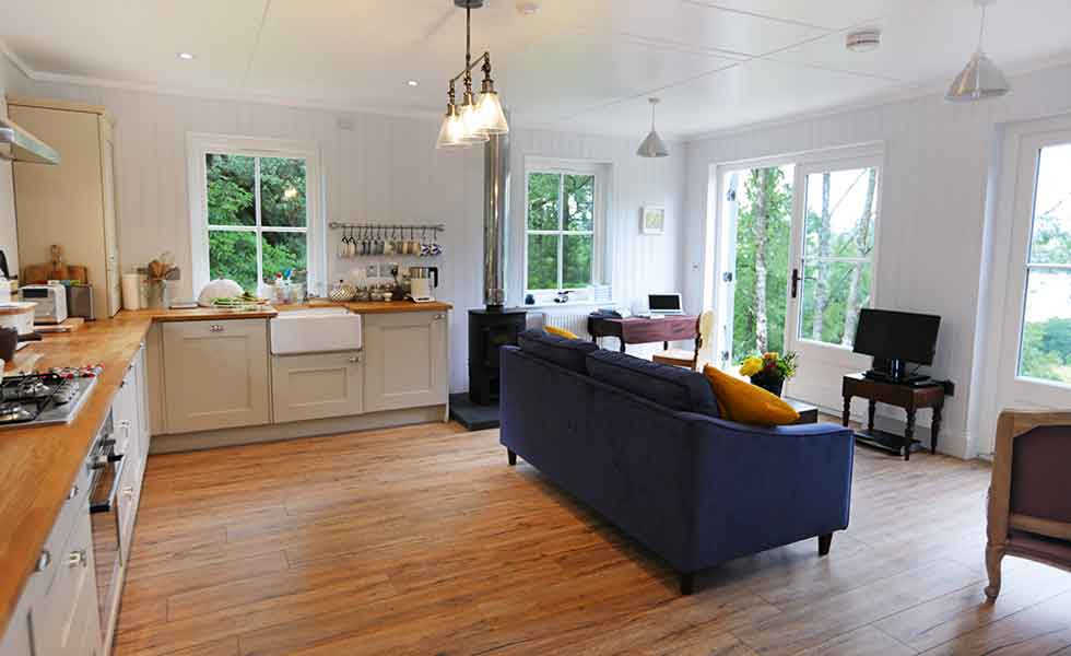 An open plan kitchen living space in this budget self build in Scotland