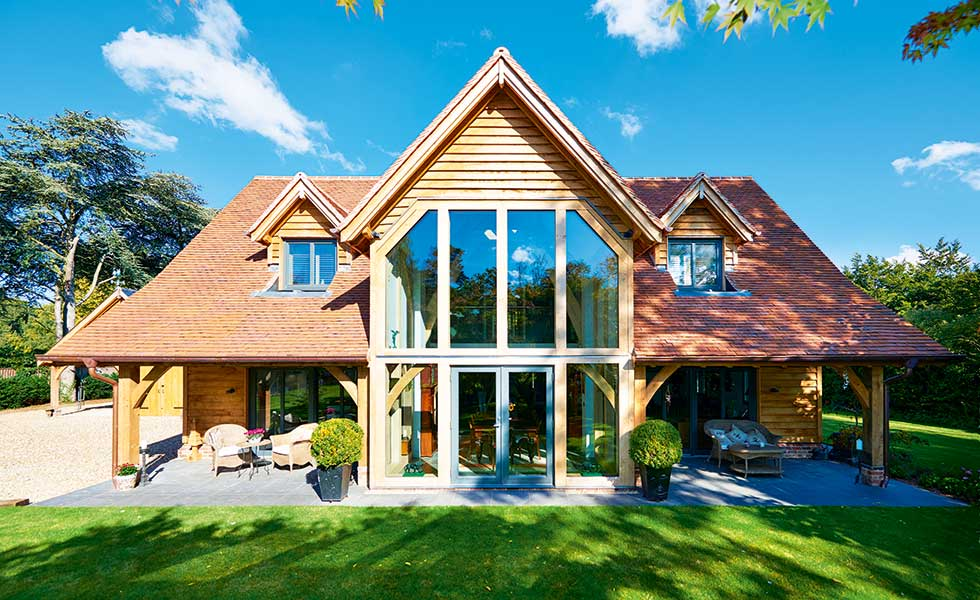 oak frame home with glazed gables