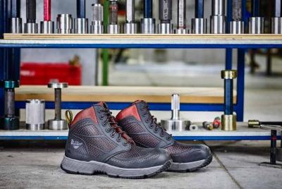 Dr Martens calamus oxblood work shoe boot blue shelves