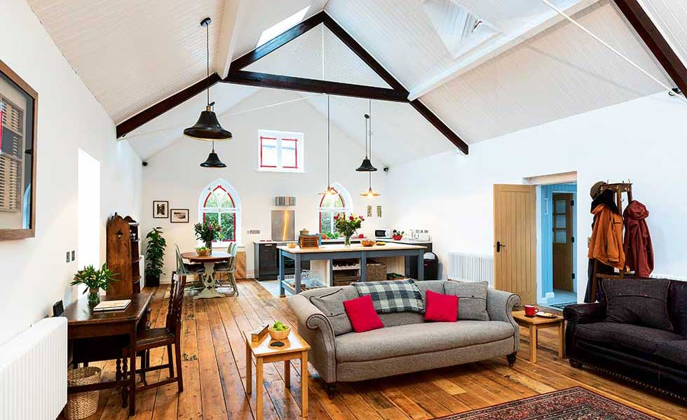 renovated Victorian tin chapel in Chester with open plan living area