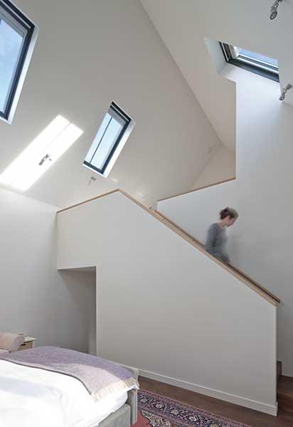 mezzanine level in an open plan stone croft rebuilt
