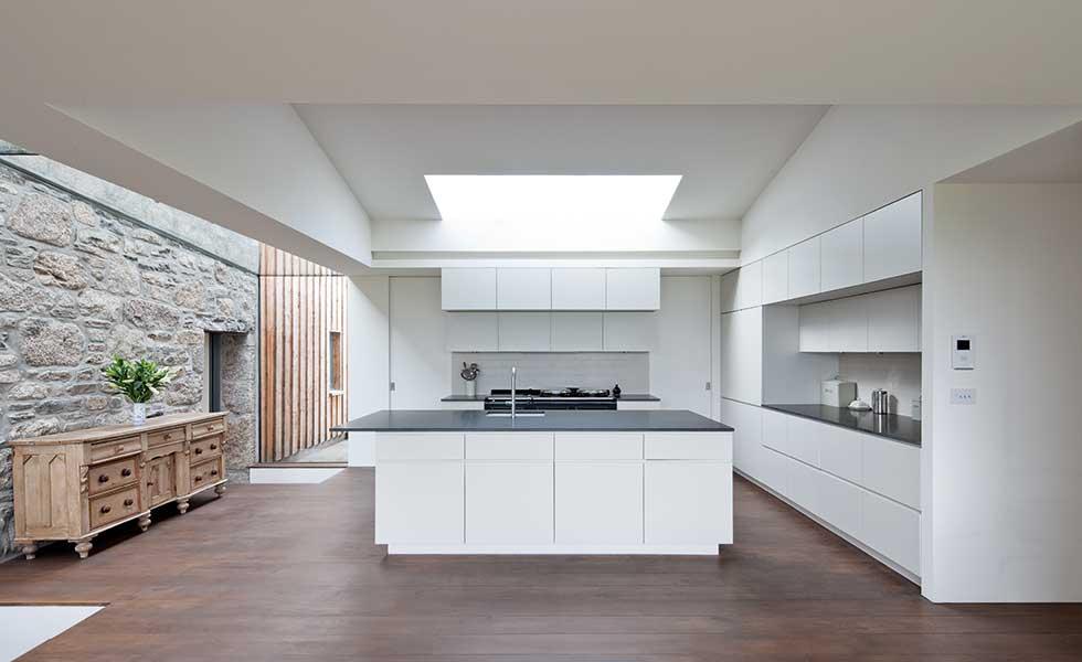 modern kitchen in stone home
