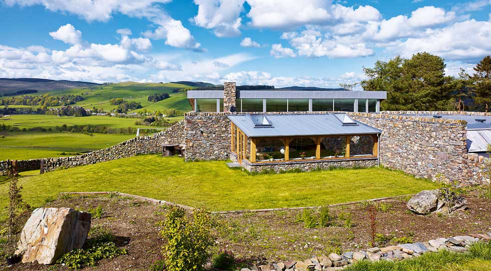 Sustainable farmhouse built from local stone and wood
