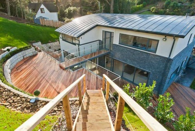 turner timber moonrise birdseye view of building home walkway