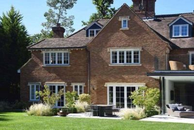 Mumford and wood garden house french doors lawn