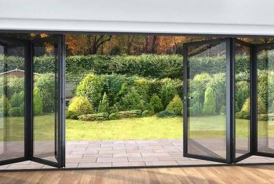 roof maker bifold doors onto garden black
