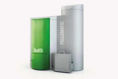 The Okofen Pellematic maxi wood pellet boiler green and grey