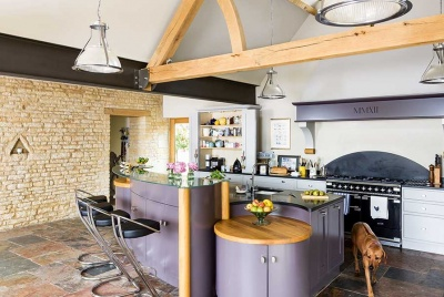 purple kitchen in a converted barn December 2016 issue cover