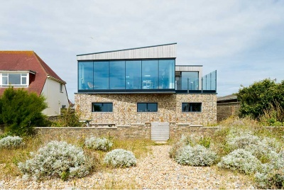 Rear beach facing elevation of coastal self build