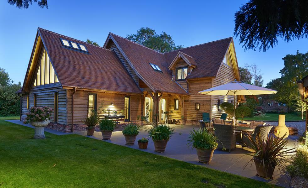 Oak frame home showcases garden