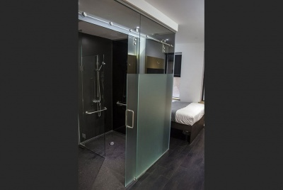 A completely new concept in wet floor design for Z Hotels.  Custom made formers and vinyl flooring made a cost effective level access shower solution adaptable across all hotels