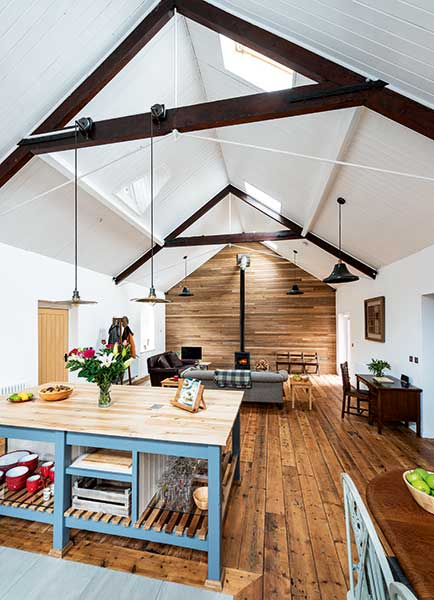 A comfortable open plan interior of a converted tin chapel in Chester