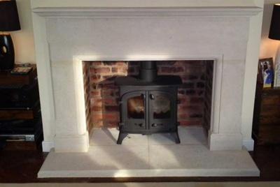 bath stone fireplace log burner