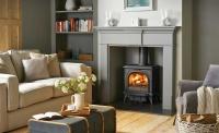 Huntingdon 30 matt black with Clear door in a Grey Pembroke Mantel