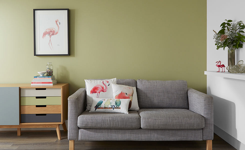 crown paint Eco Ensemble – a calming green, Alliance Matt Emulsion with Clay White Matt Emulsion
