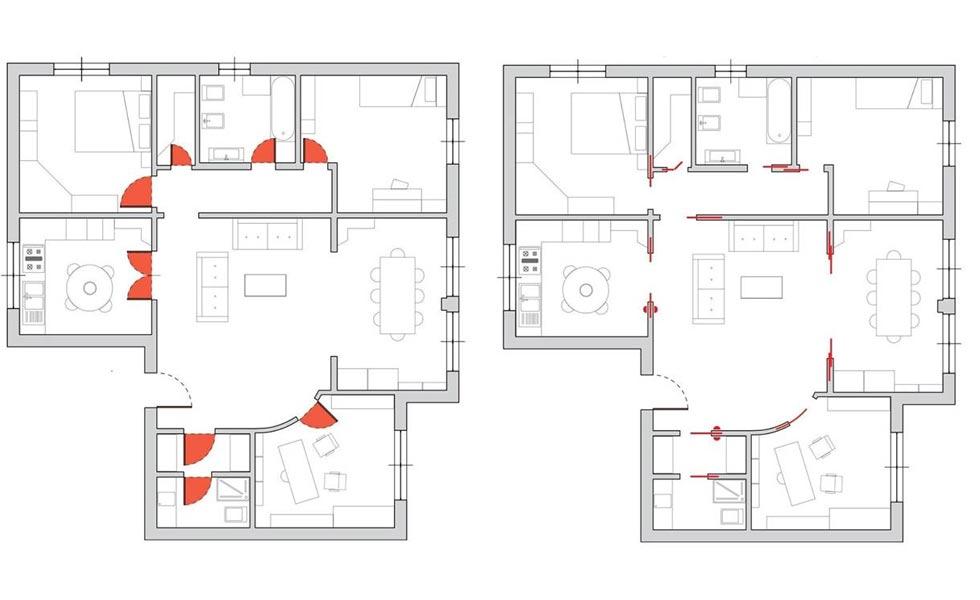 eclisse layout plan pocket doors
