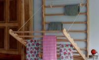 Julu laundry ladder gingham print tea towel pine