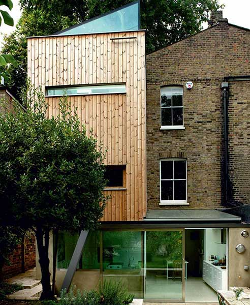 timber clad and glazed extension