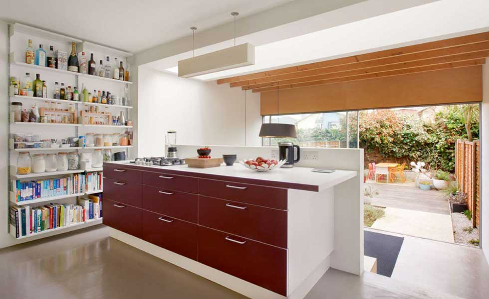 split-level kitchen diner in a transformed council house