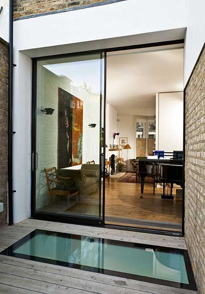 renovated and extended London terrace with light well and glazing