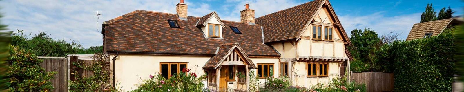 oak frame cottage in spring