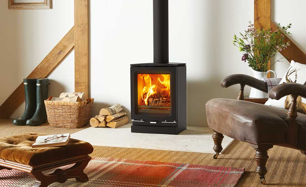 Stovax's Vogue woodburning stove with original plinth