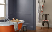 crown paint Flash of Colour – Bath Bomb, Tin Bath and Wheatgrass, all Bathroom Mid Sheen Emulsion