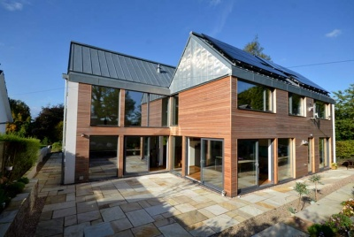 scotframe timber maryville passive house interior timber frame home exterior cladding steel roof courtyard