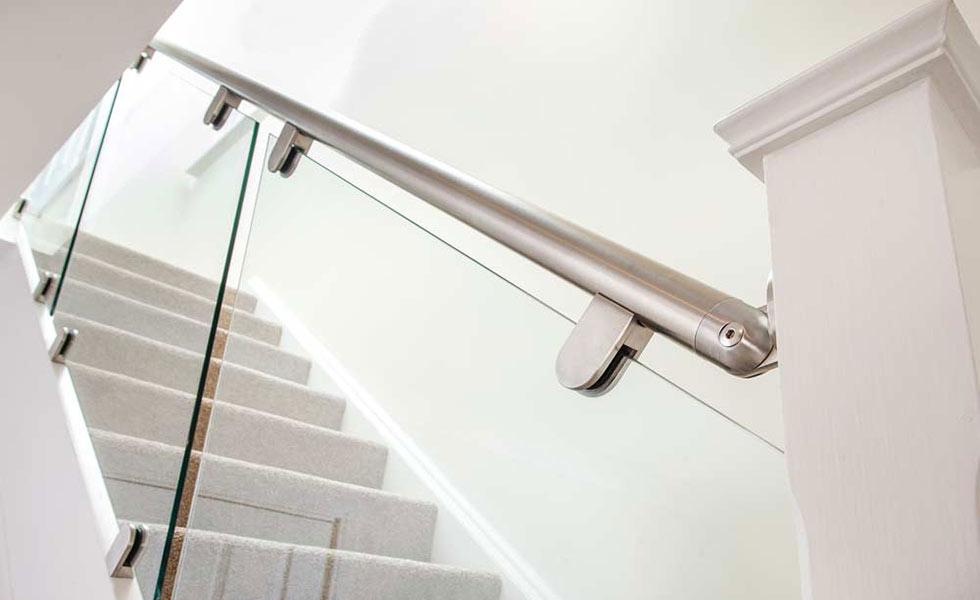 stairfurb staircase stairway stairs steel modern minimal glass home interior