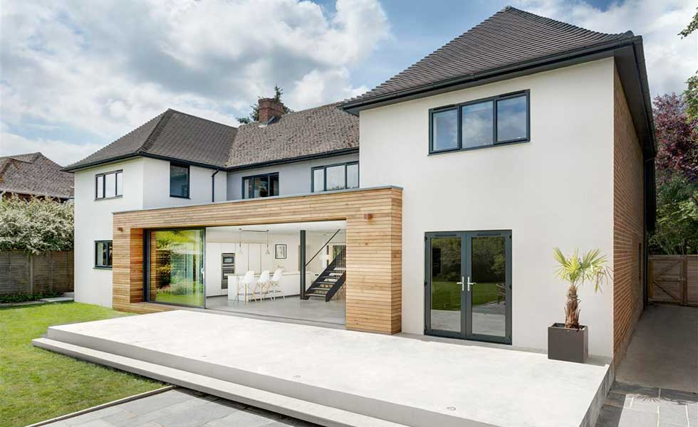 an extended and remodelled home with clad extension