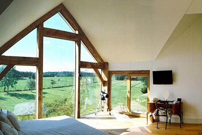 heritage oak frame timber house architecture build glazing living room