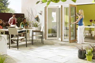 vufold ultra white bi fold doors patio glazing