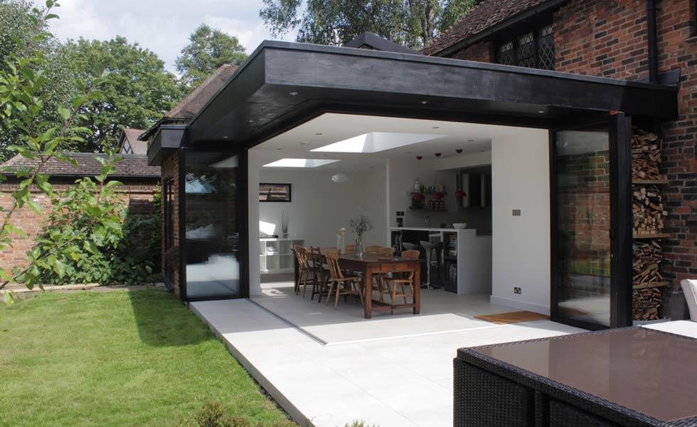 Yes glazing solutions Sunflex Bifolding and Sliding Doors exterior open corner