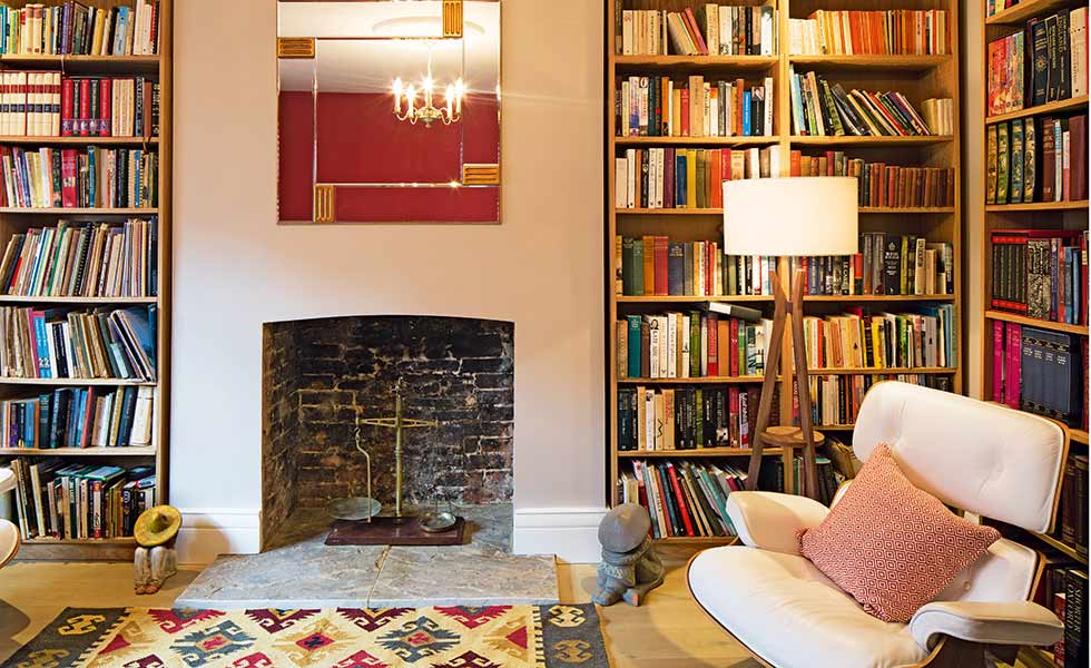 A snug also provides a suitable library and home office space in this comfortable home