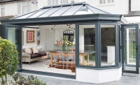 everest conservatory conservatories secure glazing extend glass room grey frame