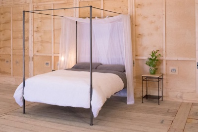 nights in iron Simple Canopy Iron Bed In Gunmetal