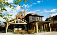 kloeber bifold doors house exterior entrance timber