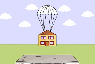 PSM image cartoon house parachute