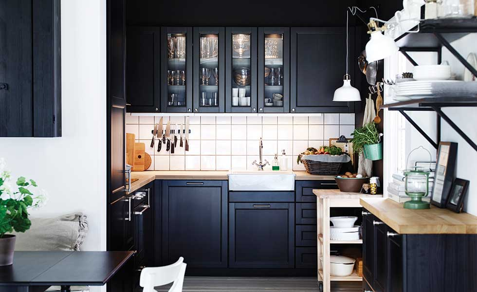 Ikea black shaker kitchen