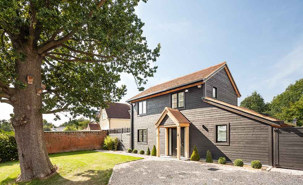 Wood Cladding Elevation : Contemporary oak frame self build clad in timber
