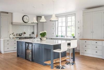 rengraft kitchen steel blue island