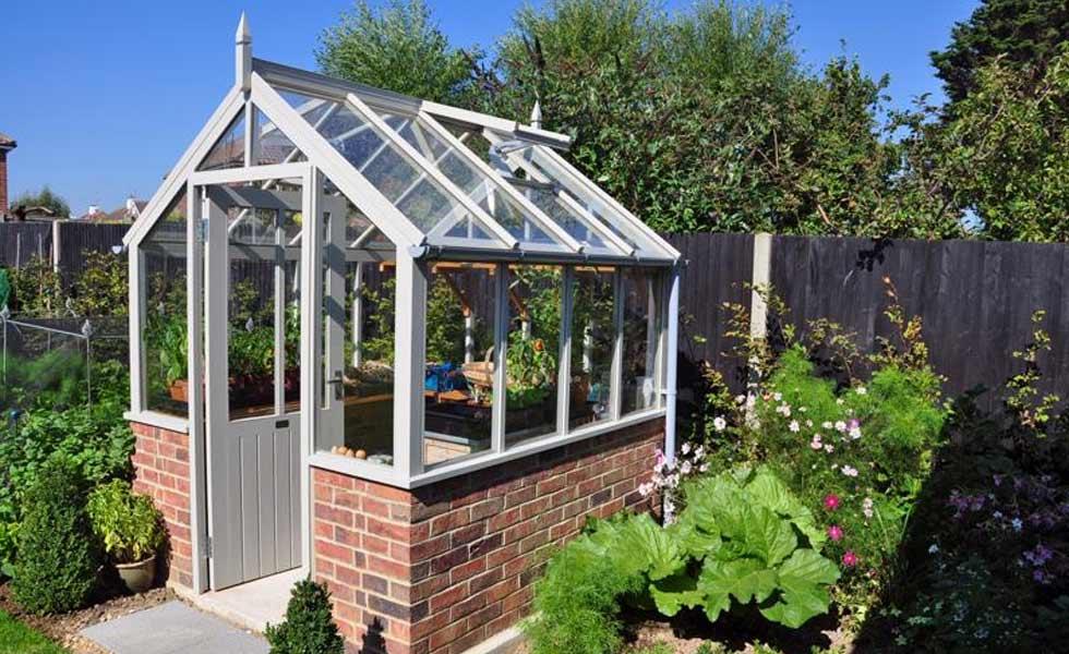 white cottage standard greenhouse grey