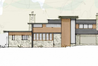 The design sketch of Jason Orme's renovation project to transform his 1960s house into a mid-century modern home
