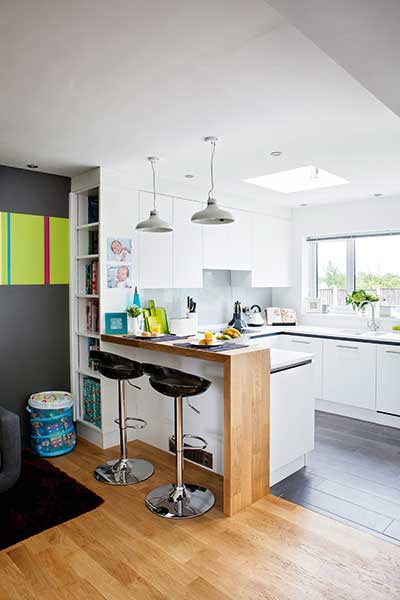 Contemporary white kitchen extension